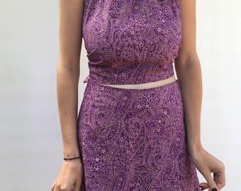Purple paisley skirt & halter top set
