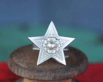 Solid Silver Antique Ornate Wish Upon A Star Etoile Celestial Grace Ring