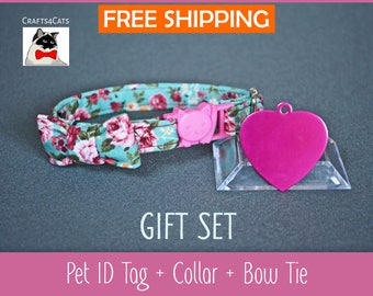 Mother's day cat collar bowtie Cat ID tag pink heart with breakaway collar & bow tie and bell - kitten collar - cat collar