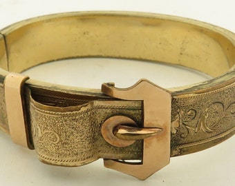 2 Antique Victorian Gold Filled Hand Engraved Buckle Hinged & Woven Bracelet, As Is.