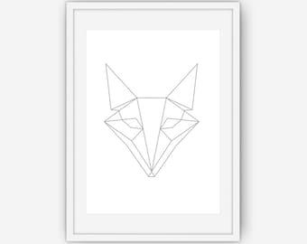 Silver Geometric Fox Print, Geometric Fox Print, Fox art, Fox Print, Geometric art, Geometric Print, Silver Fox, Fox Art