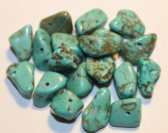 howlite turquoise nuggets, 13 mm, set of 10