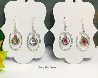 Bullet 9 mm Winchester Earrings With Swarovski Crystals