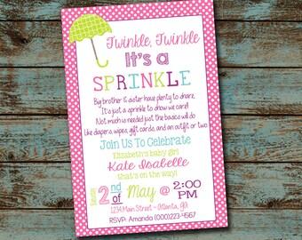 Baby Sprinkle Invitation, Twinkle Twinkle It's a Sprinkle, Girl Baby Shower Invitation Digital File DIY