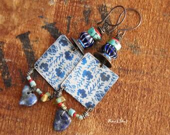 Bohemian earrings-Boho earrings-gypsy look-Asian style-vintage spirit-rustic earrings-Asian look-craft pendant-turquoise-blue indigo-red