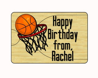 Birthday Gift Stickers, Basketball Stickers, Birthday Labels, Birthday Stickers Gift Tags, Personalized Gift Tags, Happy Birthday Tags (188)