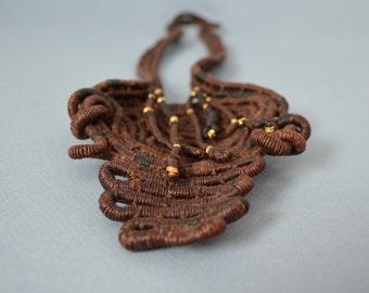 Vintage Fiber Art Wrapped Necklace