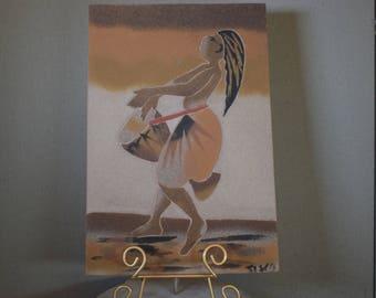 Sand Painting Vintage Dancing Woman