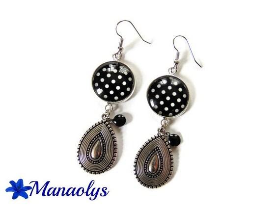 White dots on black earrings, drop pendants silver plated, enamel charms