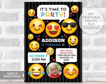 Emoji Birthday Party Invitation - Printable Digital File