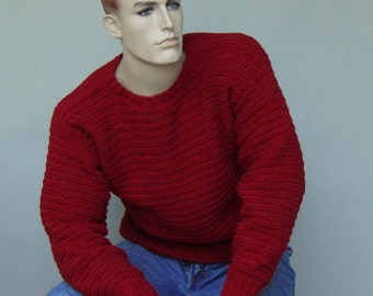 Men's Red Sweater, Men's Wool Sweater, Wool Sweater Men, Men's Sweater, Holiday Sweater, Pullover, Crewneck Sweater, Available in M and L