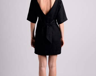Black linen wrap dress with deep plunge on the back