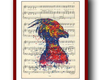 Harry Potter Poster Fawkes the Phoenix Print  Watercolor  Print 8x10  Wall Decor Book Page Art  Upcycled Dictionary