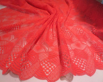 Stunning Melon Red Allover Geometric Design Embroidered Organza from Spain Fabric--By the Yard