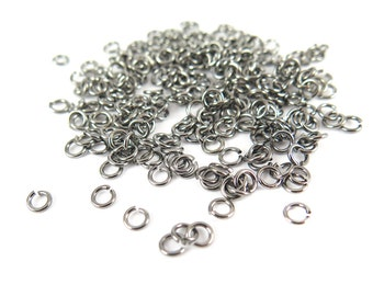 Gun Metal Plated 4mm Round Jump Rings - 12 grams (approximately 260x) (21 gauge) K851-E