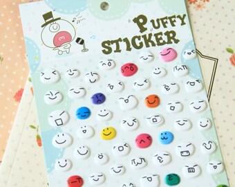 Circles cartoon puffy stickers