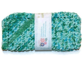 Hand Knit Dish Cloths Shades of Turquoise and Robin's Egg Blue