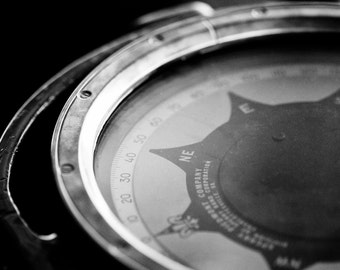 Second Star to the Right : compass nautical photography peter pan black white photo monochrome home decor 8x12 12x18 16x24 20x30 24x36