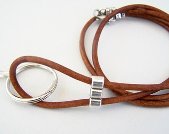 Mens Rustic Lanyard, Natural Tan Leather, Id Lanyard, Badge Holder, Leather Lanyard, Round Leather Cord, 26-36 Inches, Eyeglass Holder