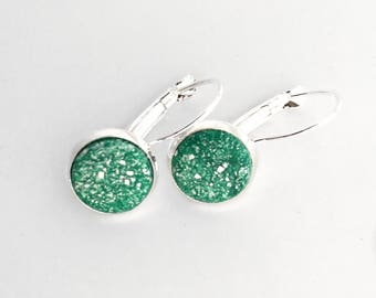 Translucent Green Polymer Clay Leverback Earrings, Bright Silver Bezel Set