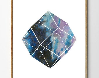 Gemstone no.2 - Geometric Print, Rocks and Minerals, Minimalist Art, Ink Art, Crystal Painting, Watercolor Nature Print, Abstract Nature