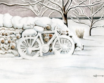 REPRODUCTION of my original watercolor: cycling in the snow.