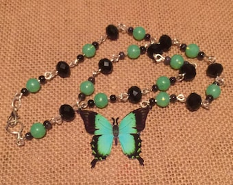 Butterfly Necklace,  green Butterfly necklace, beaded butterfly necklace, butterfly pendant necklace, green and black necklace