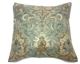 Decorative Pillow Cover Ikat Green Orange Rust Tan Brown Black Ivory Same Fabric Front/Back Toss Throw Accent 18x18 inch  xt