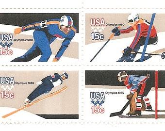 1980 Scott # 1795-1798 Block of 4 -15 Cent  US Postage Stamp Olympics 1980 Winter