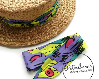 Wrap Around Puggaree Ribbon Hat Band for Hat Making / Millinery - 90's Print