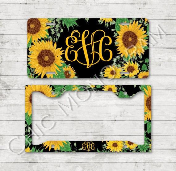 Sunflower Monogrammed Car Tag Sunflowers Floral License Plate Frame License Plate Holder Personalized Car Tag  Gifts for Bridal Shower