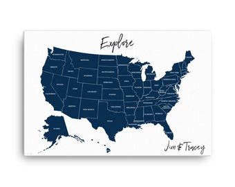 Personalized United States Travel Map, US Push Pin Map, Explore US Travel Map, Track Travels, Push Pin Travel Map, Anniversary Gift, America