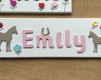 Personalised bedroom door sign name plaque girls room sign large Horse theme handmade wooden