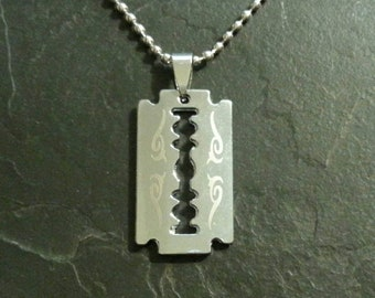 Pantera Dimebag Darrell Razor Blade Necklace Tribal Pendant Charm Collectible Gift Present Music Memorabilia