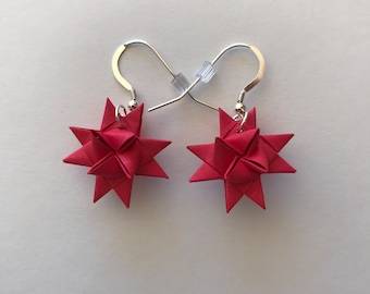Moravian Star Earrings—Rose