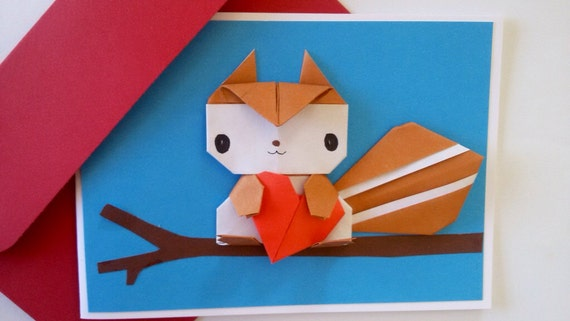 Squirrel birthday card origami handmade greeting card squirrel birthday card origami handmade greeting card anniversary card pop up card origami cards boyfriend girlfriend card bookmarktalkfo Image collections