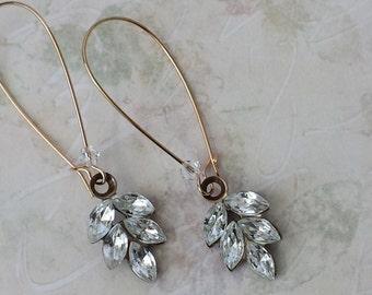 Swarovski Clear Crystal Earrings Crystal Dangle Earrings Antique Brass Drop Earrings Crystal Rhinestone Earrings Vintage Swarovski Earrings