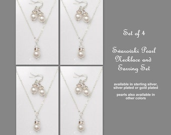 Swarovski Jewelry Set of 4  Bridesmaid Jewelry Set, Bridesmaid Gift,  Swarovski White Pearl Necklace and Earring Set, Maid of Honor Gift