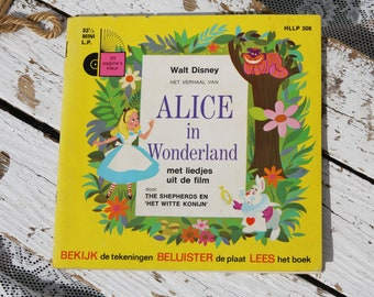Vinyl Mini LP Alice in Wonderland-Walt Disney/White Rabbit/songs + booklet/1968/Story/Fairytale/Piet Eade/Vintage/Retro/