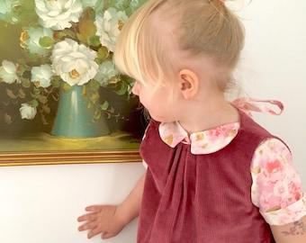 SALE| Jumper Dress| Rose| Corduroy|Reclaimed fabric| 3t