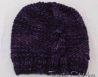 Cable Knit Slouch Hat Amethyst Merino Super Bulky Ready To Ship Free Shipping