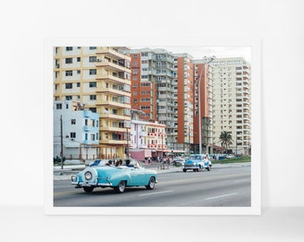 Cuba Poster, Havana Wall Art, Classic Car Photography, Havana Architecture Art, Cuba Art Print, Large Wall Decor, Travel Photography