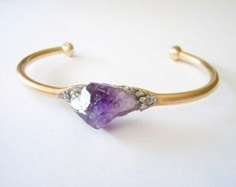 Raw Crystal Jewelry - Amethyst Bracelet - Raw Crystal Bracelet - Pyrite Bracelet - Healing Bracelet -Boho Raw Stone Cuff