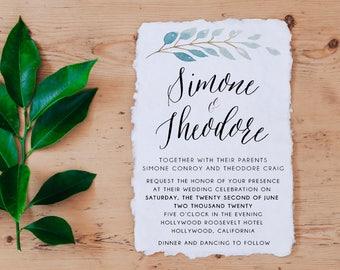 Calligraphy Wedding Invitations, Printable Wedding Invitation, Watercolor Wedding Invitation Suite, Printable template,  Calligraphy Invite