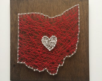 MADE TO ORDER Custom String Art, State String Art, Heart String Art, Ohio String Art