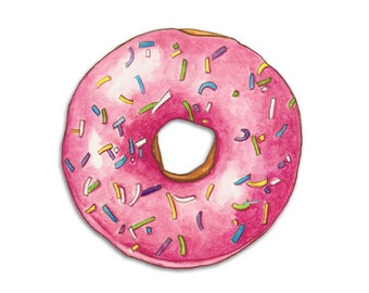 Watercolour Pink Doughnut Art Print