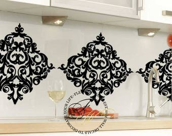 Damask Wall Stickers Set of 6 - Damask Wall Decals - Shabby Chic Vinyl Wallpaper Look For Kitchen Living Room or Bathroom Wall Decor DP003