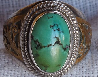 Unique, Southwestern, Turquoise, Sterling Silver Ring, with Beautiful Brass Scrolling, Western Jewelry, Turquoise Jewelry, Boho Rings
