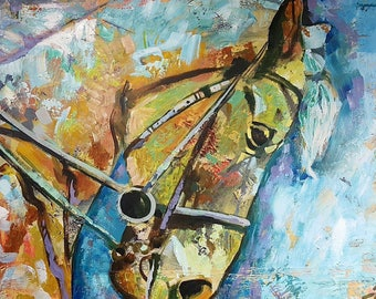 Original New MENDOZA Modern Abstract Contemporary Art Horse Animal Painting Canvas Equestrian