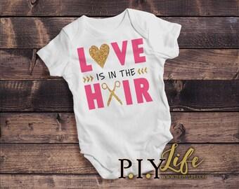 Kids   Love is in the Hair Stylist Kids Bodysuit DTG Printing on Demand